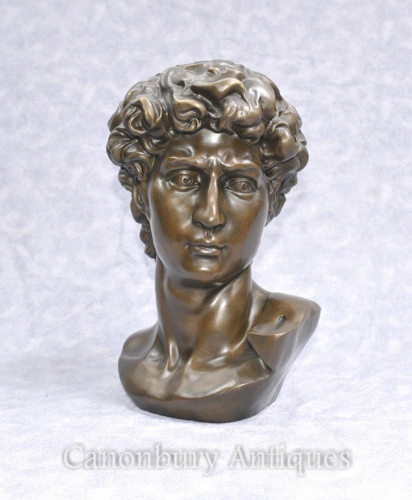 Klassische Bronze-Büste David von Michelangelo Renaissance-Kunst-Statue