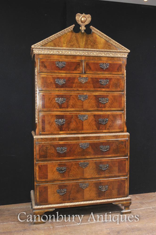 Nussbaum Antik Brust auf Brust Kabinett Englisch Möbel 1840 Tall Boy