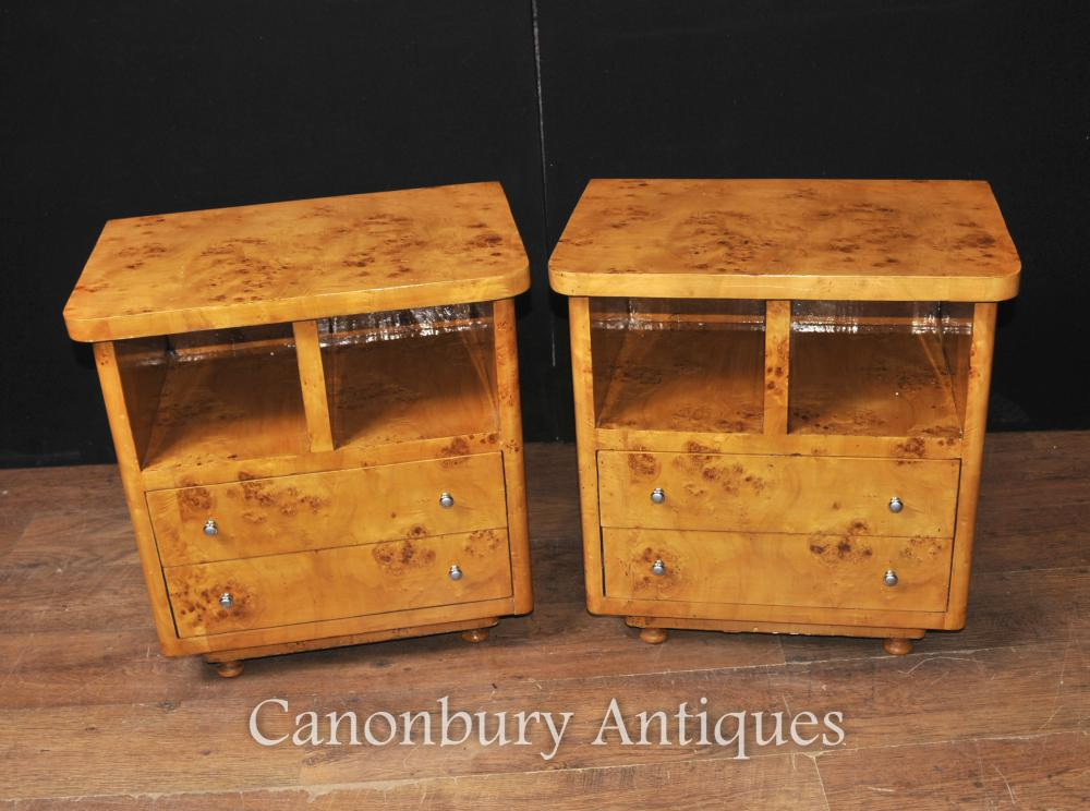 Paar Art Deco Nachtschränke Nachttische Schlafzimmermöbel Tische