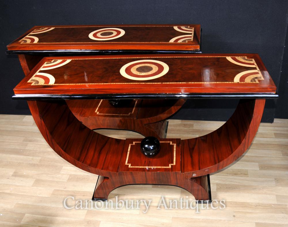 Paar Art Deco Ogee Konsole Tische Palisander Intarsien