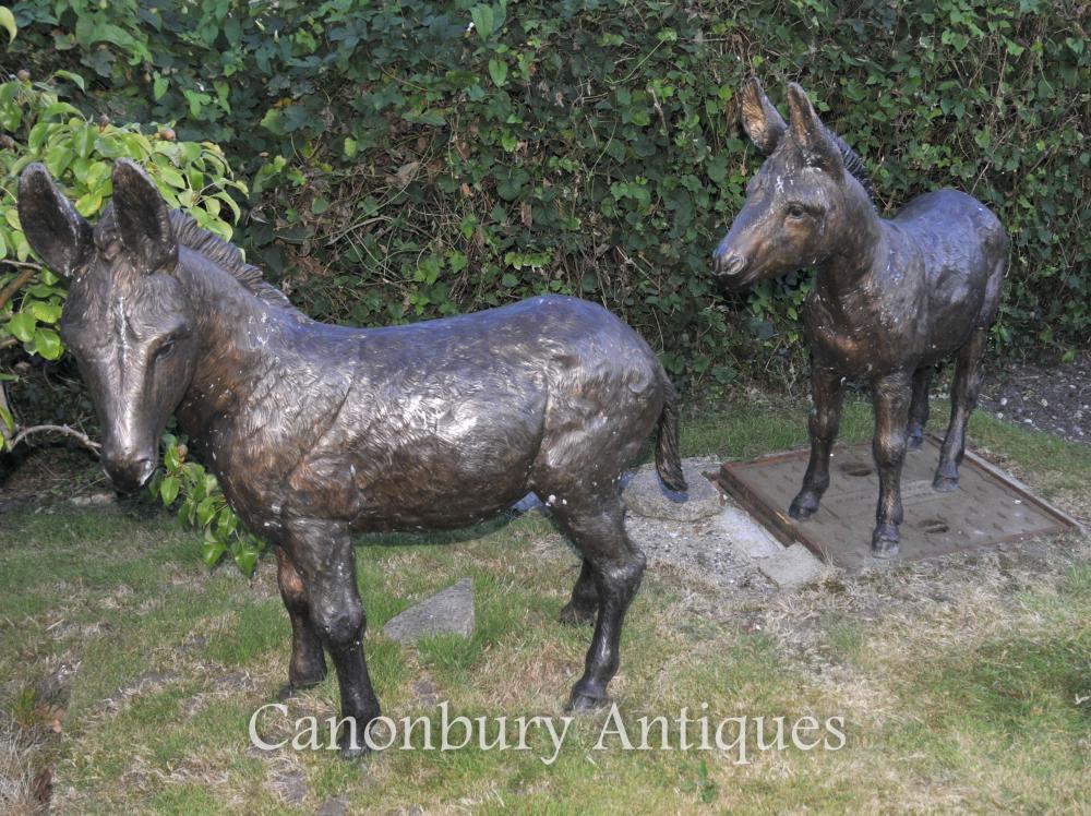 Paar-Bronzen-Esel-Statue-Garten-Skulptur-Esel