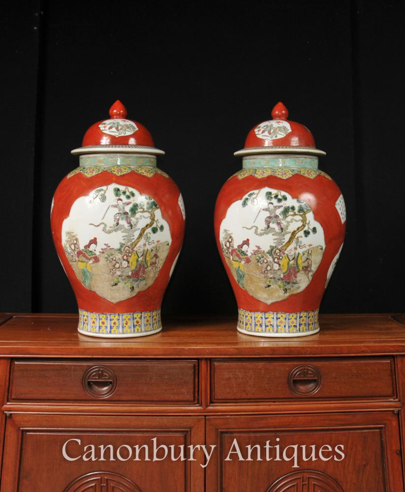 Paar Chinese Qing Porzellan Ingwer-Gläser Vasen Tempel Gläser Imperial Red
