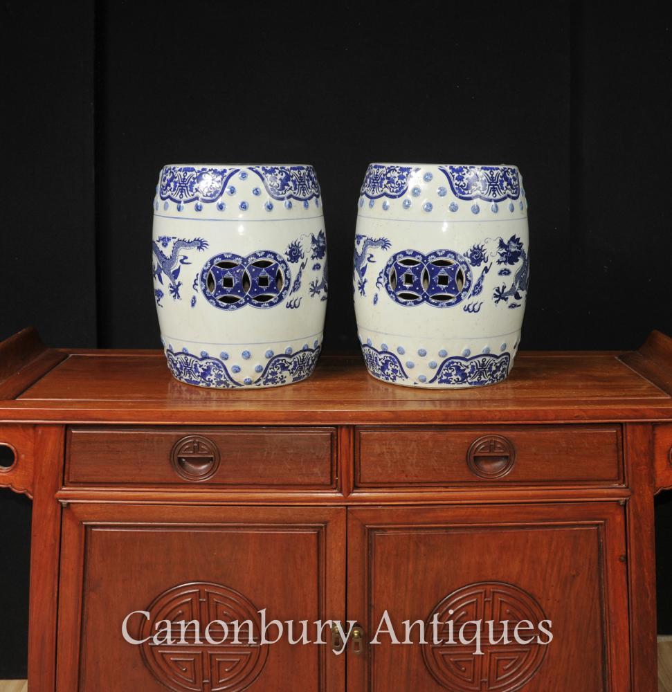 Paar Chinesisch Nanking blau und weiß Porzellan Garten Hocker Drachen Sitze