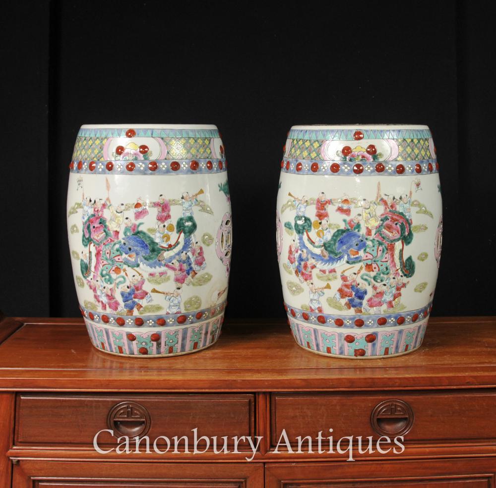 Paar Chinesische Kangxi Porzellan Garten Sitzhocker Drachen Urnen