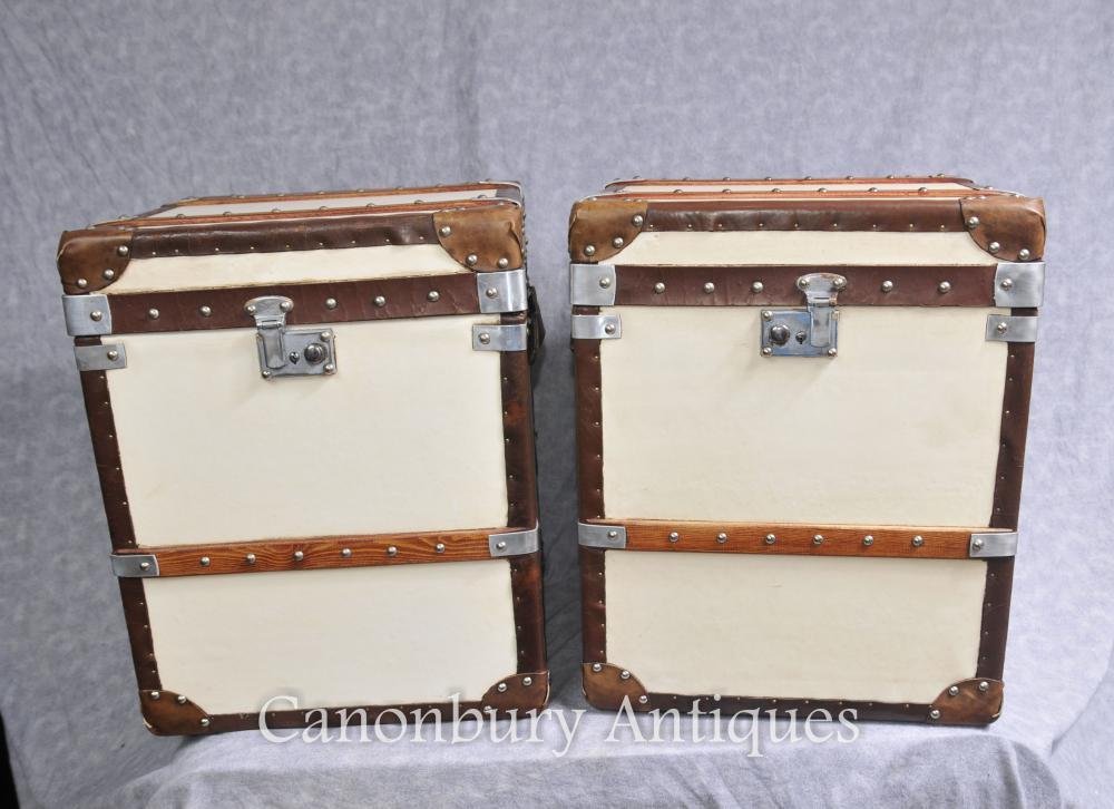 Paar Englisch Leder Gepäckboxen Steamer Trunks Beistelltische