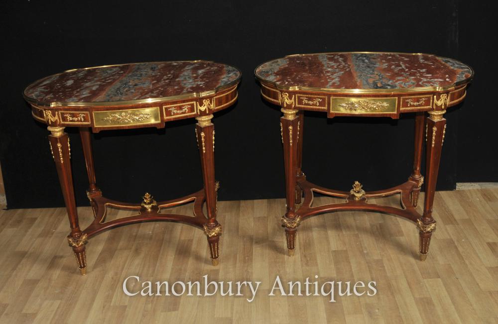 Paar Französisch Reich Marmor Beistelltische Tischmöbel