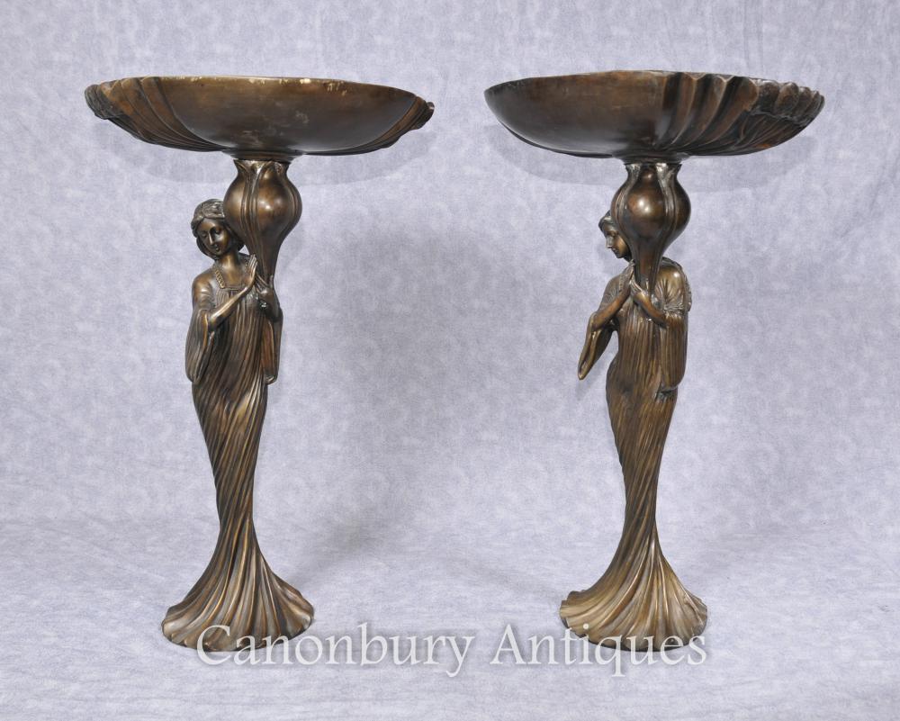 Paar Französische Kunst Nouveau Bronze Weibliche Figur Teller Comports