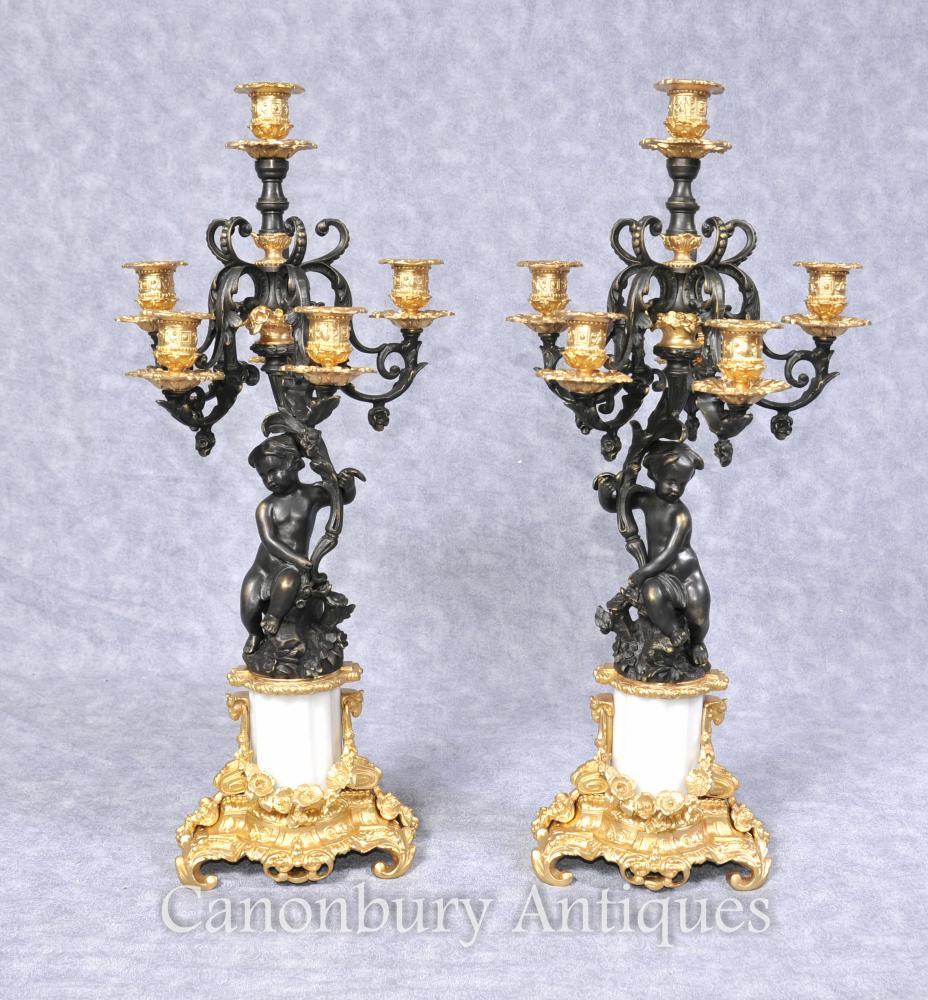 Paar Französisches Reich Bronze Cherub Candelabras Kerzen