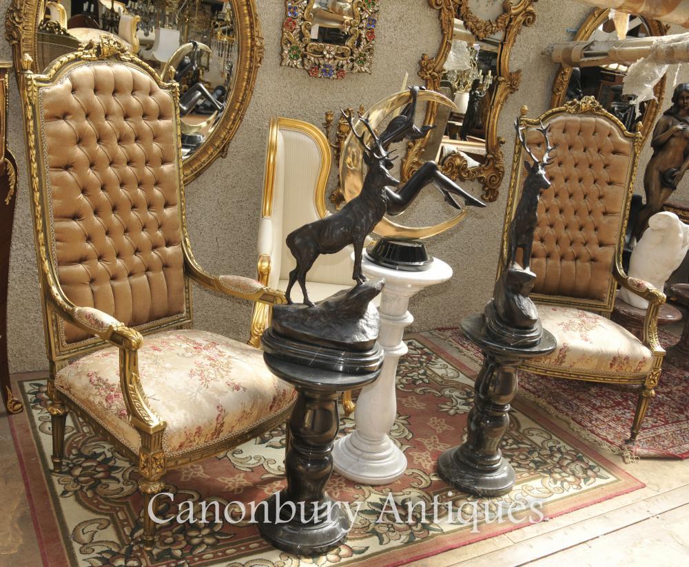 Paar Louis XVI Gilt Sessel Hohe Rücken Fauteuils