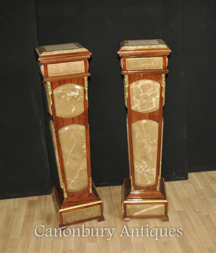 Paar Reich Marmorsockel Stehtische Säulentisch
