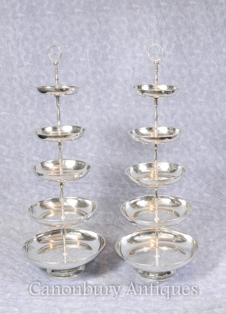 Paar Sheffield Silber Platte Kuchen Ständer Tiered Dish Stand