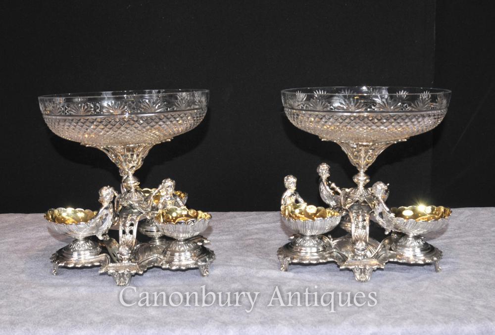 Paar Sheffield silberne Platte Cherub Schüsseln Geschirr Centerkristallglas