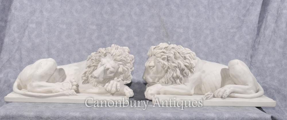 Paar Stein Italienisch Liegerad Sleeping Lions Cat Statue Skulptur