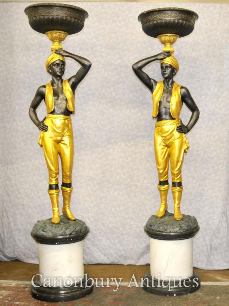 Paar XL italienischen Bronze Blackamoor Statuen Torcheres architektonischen