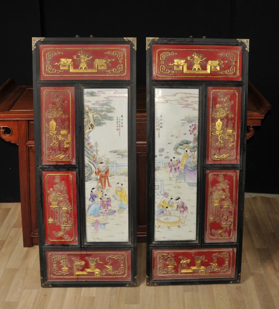 Paar chinesische Porzellan Qianlong Plaketten Platten Keramik Hanging Bildschirm