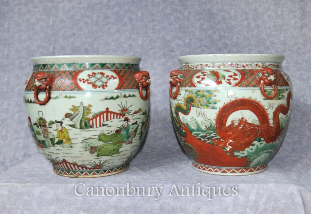 Paar chinesische Qianlong Keramik Pflanzer Porzellan Urnen