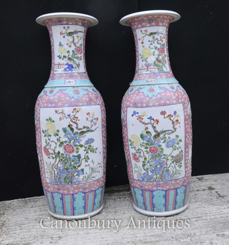 Paar große chinesische Qianlong Porzellan Urnen Vasen Keramik