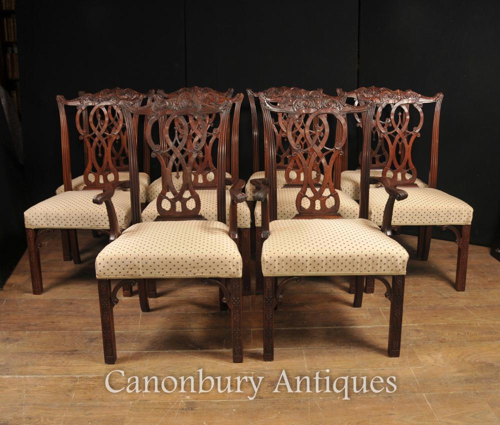 Set 10 Mahagoni Chippendale Esszimmerstühle Englisch Möbel