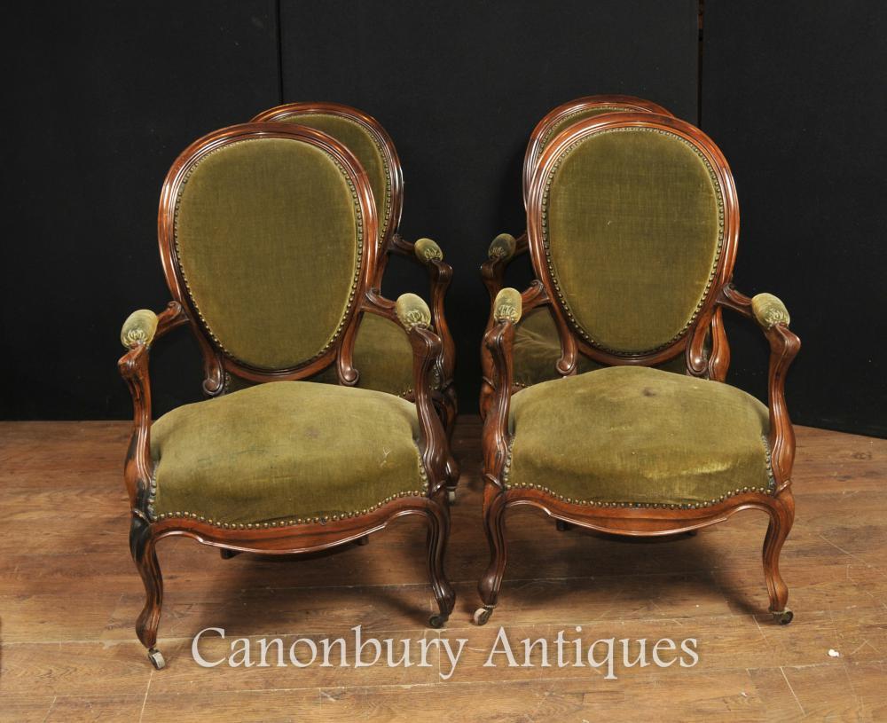 Set 4 Französisch Antike Sessel Regency Nussbaum Fauteuils 1880