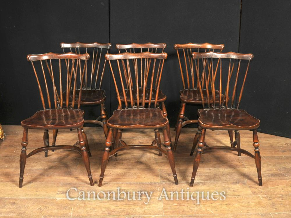 Set 8 Antique Eiche Windsor Stühle 1920 Kitchen Dining Chair