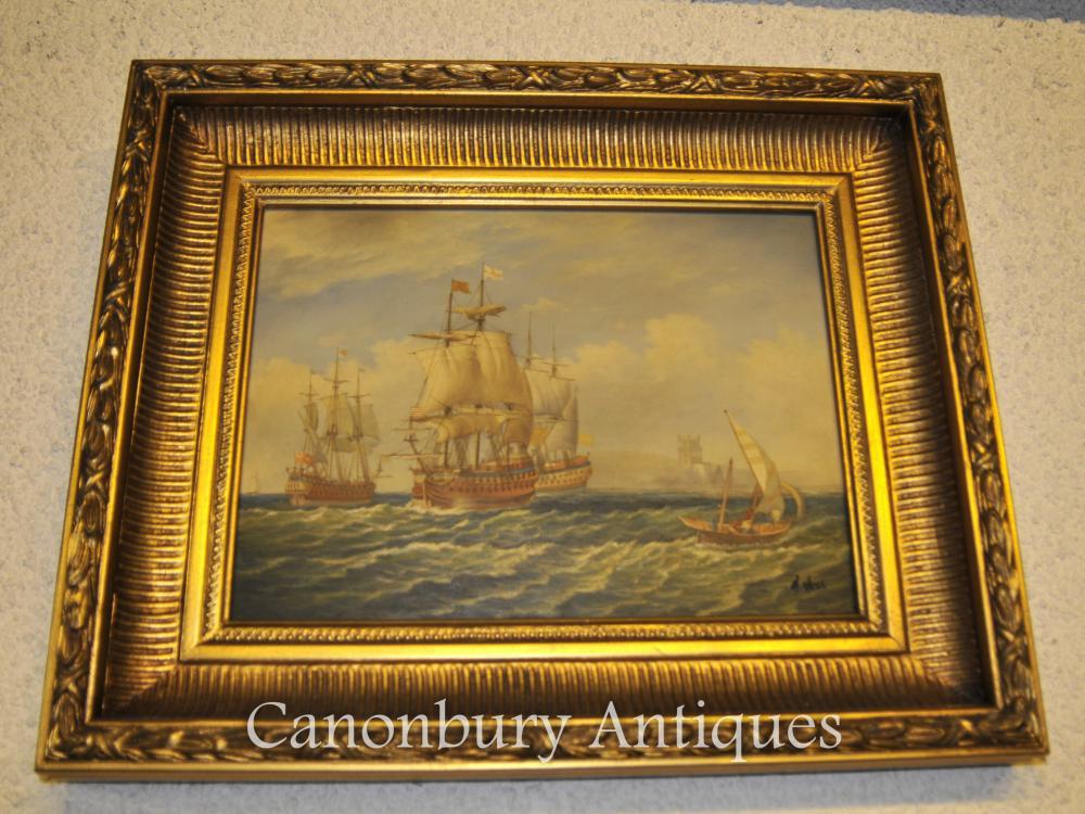 Victorian Ölgemälde Marine Maritime Unterzeichnet