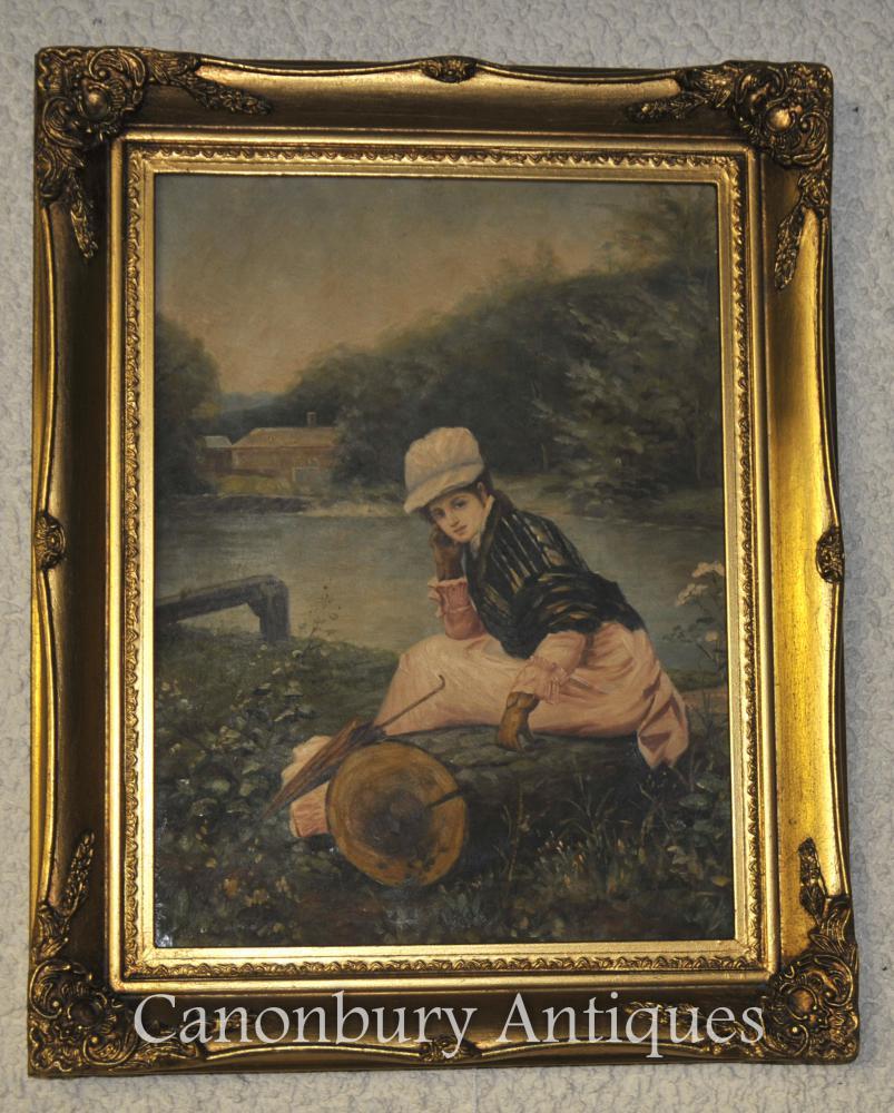 Victorian Ölgemälde Portrait-junges Mädchen auf Themse London
