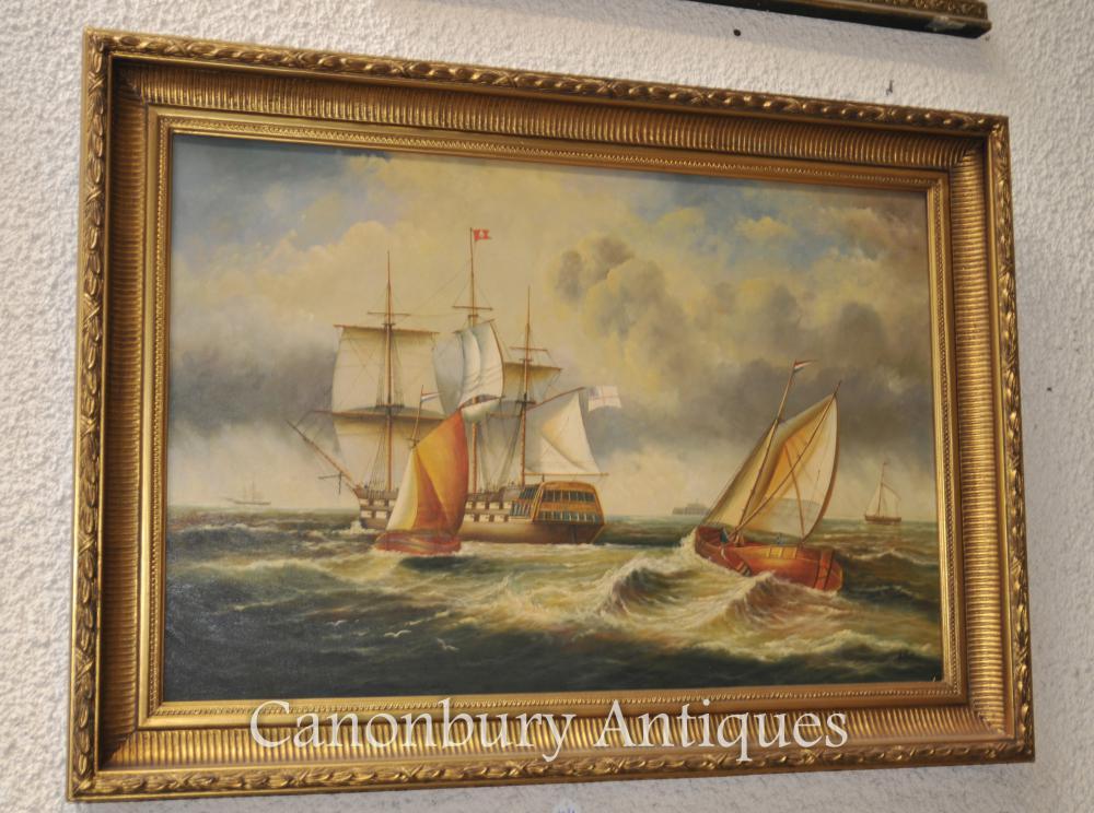 Victorian Ölmalerei Galleon Schiff Maritime Seascape
