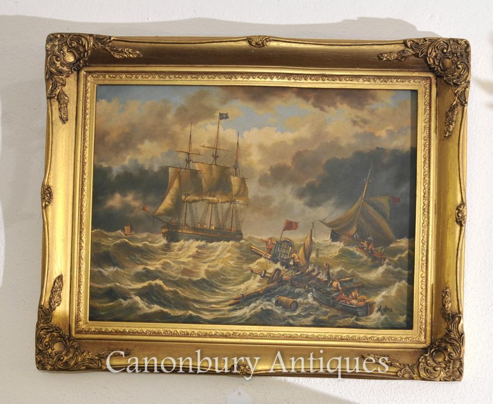 Victorian Englisch Ölgemälde Marine-Schiff Maritime unterzeichnete einen Hess