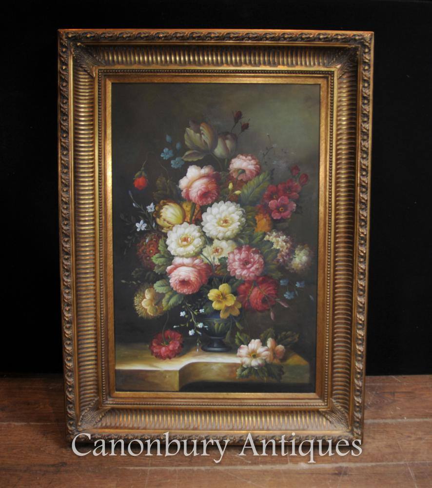 Viktorianische Blumen-Stillleben-Ölgemälde-Gilt-Feld-Blumen