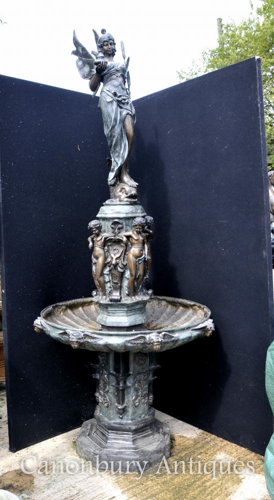 XL Bronze italienischen Renaissance-Brunnen Maiden Cherubs Tiered Architektur Wasser-Eigenschaft