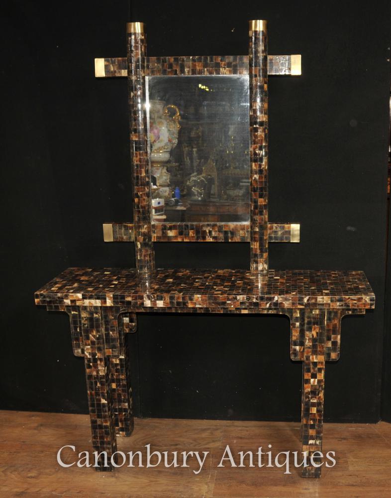 Antike Art Deco Italienische Konsole Spiegel Set Pen Shell 1930