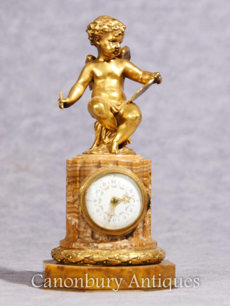 Antike Französisch Reich Cherub Uhr Mantel Uhren Ormolu 1890