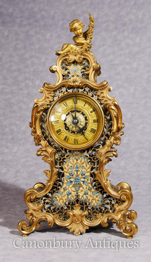 Antike Französisch Reich Cloisonné Mantel Uhr Rococo Ormolu Cherub