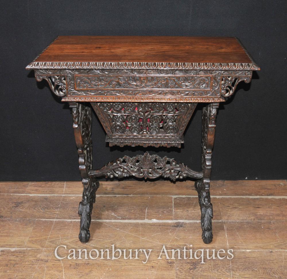 Antike Hand geschnitzte Burmese Schreibtisch-Schreibens-Tabelle 1890 Hartholz