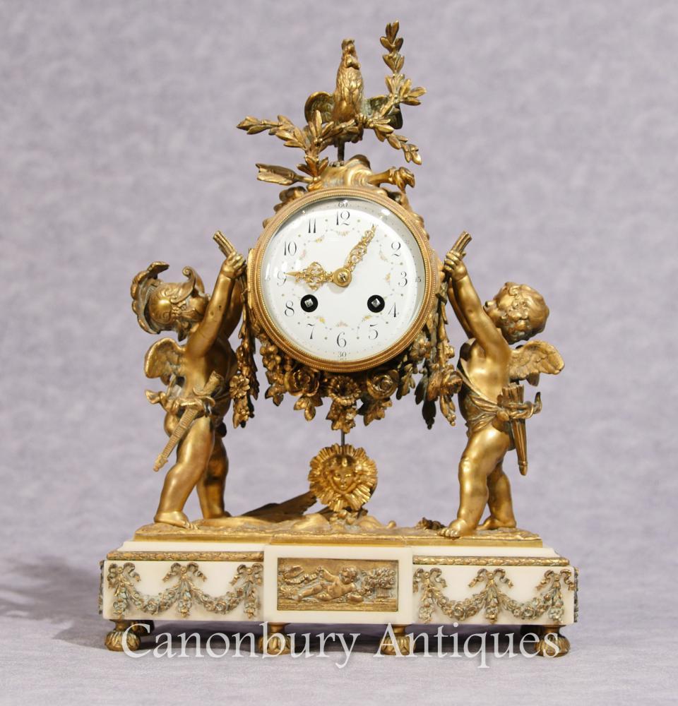 Antike Louis XVI Mantel Uhr Ormolu Cherub