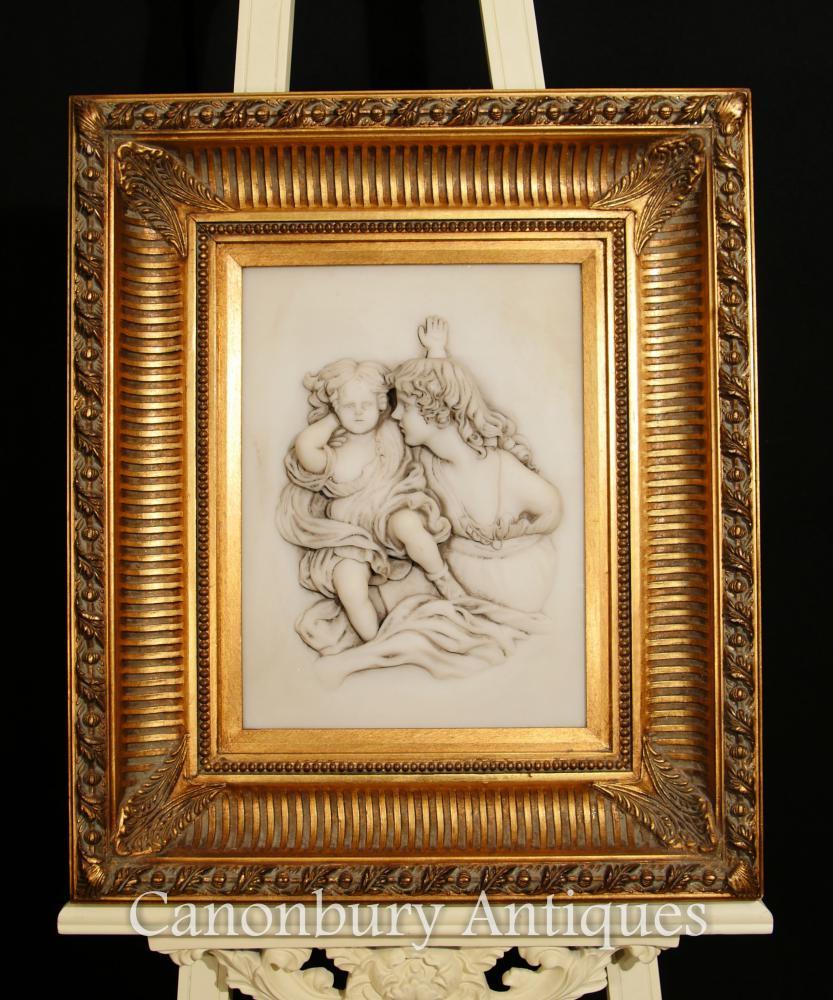 Antike italienische Cherub Maid Alabaster Relief Porzellan Bild Plaque