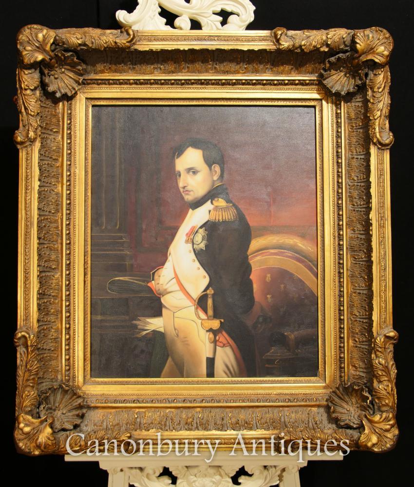 Antikes französisches Ölgemälde-Porträt Kaiser Napoleon Bonaparte signiert