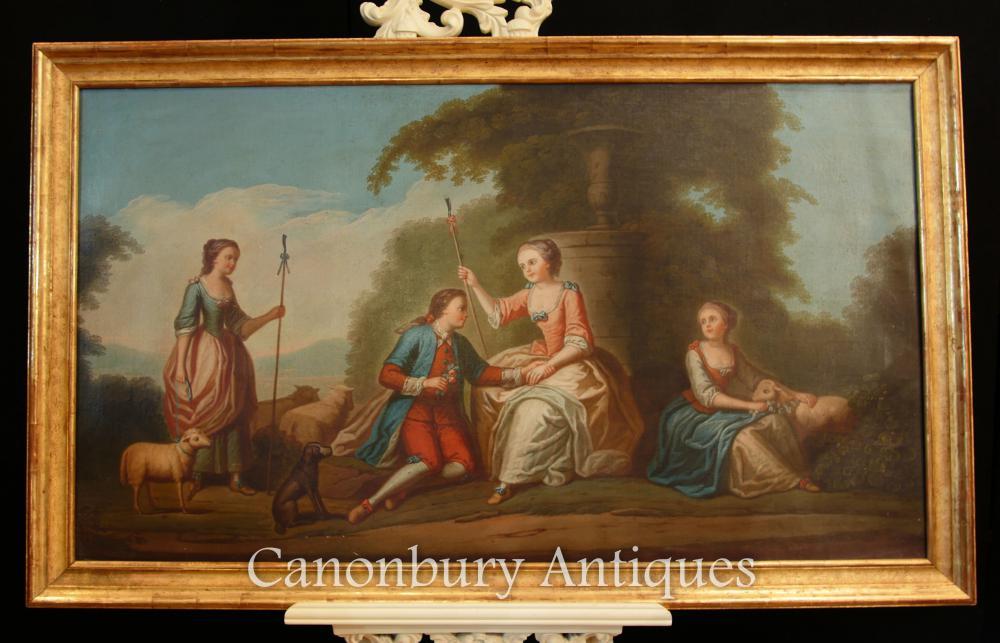 Antikes französisches Ölgemälde Romantisches Porträt Gerichtliche Liebe Art