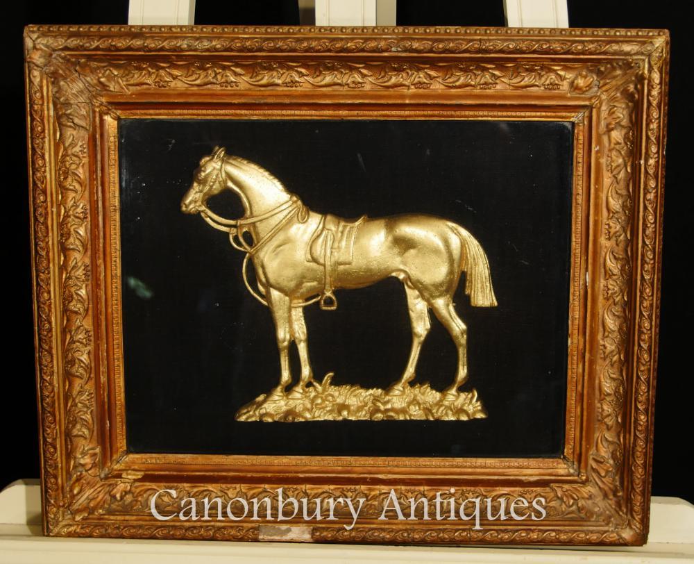 Antikes französisches Bronze angebrachtes Pferdeliebhaber-Bild gestaltet