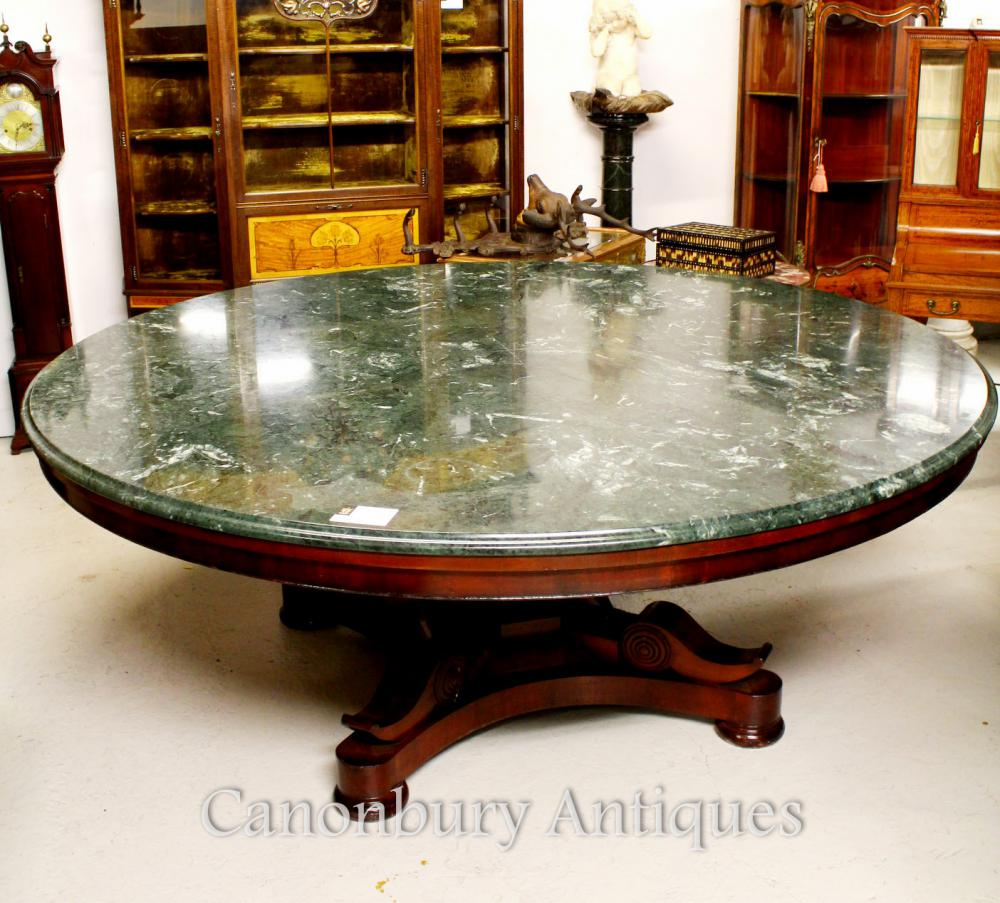 Antique Regency Center Esstisch Marble Top Mahagonitische