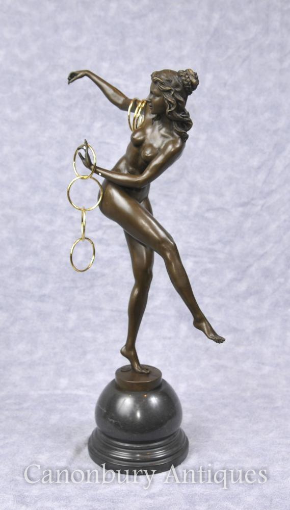 Art Deco Hoop Tänzer Figur von Colinet Statue