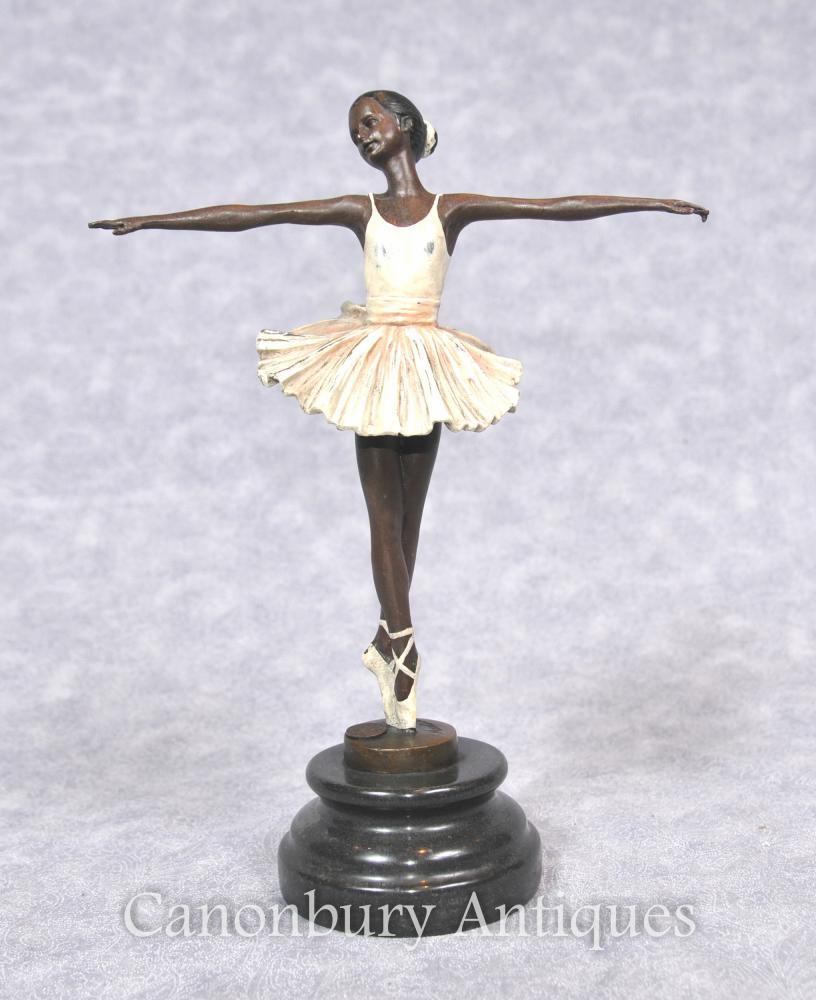 Bronze Ballett Tänzer Figur Statue Signiert Signiert Französisch