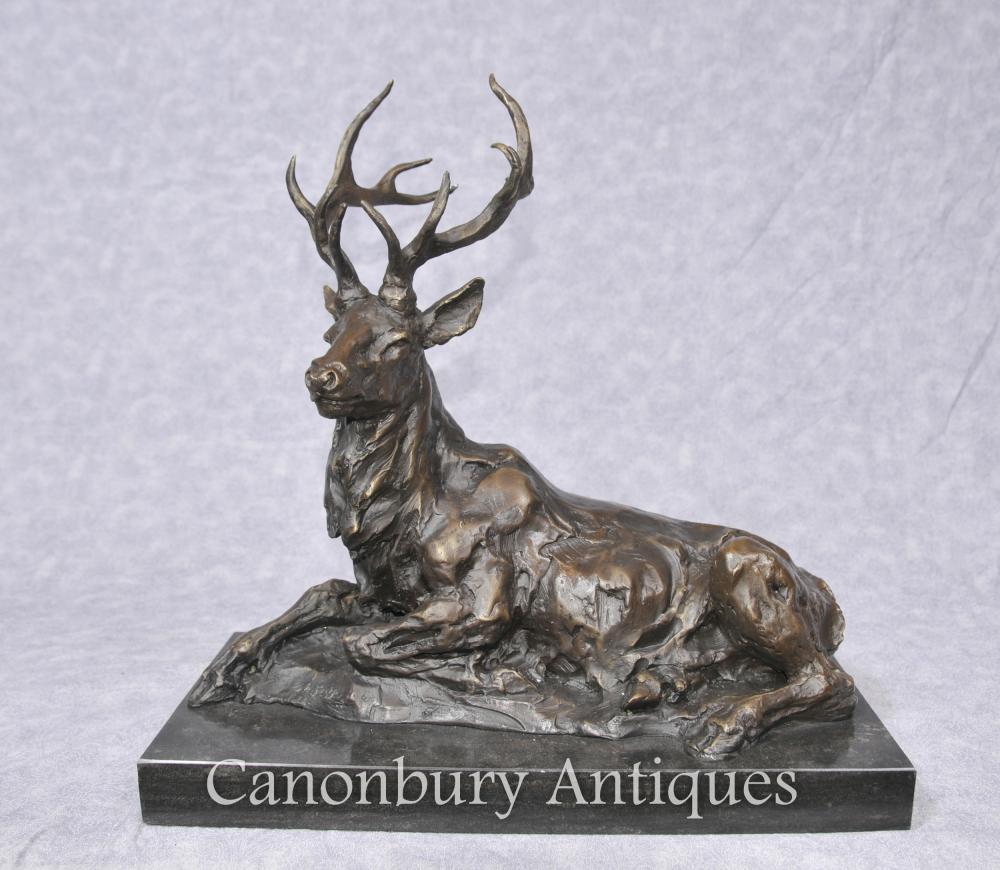 Bronze Liegerücken Hirsch Statue Skulptur Scottish Hirsche