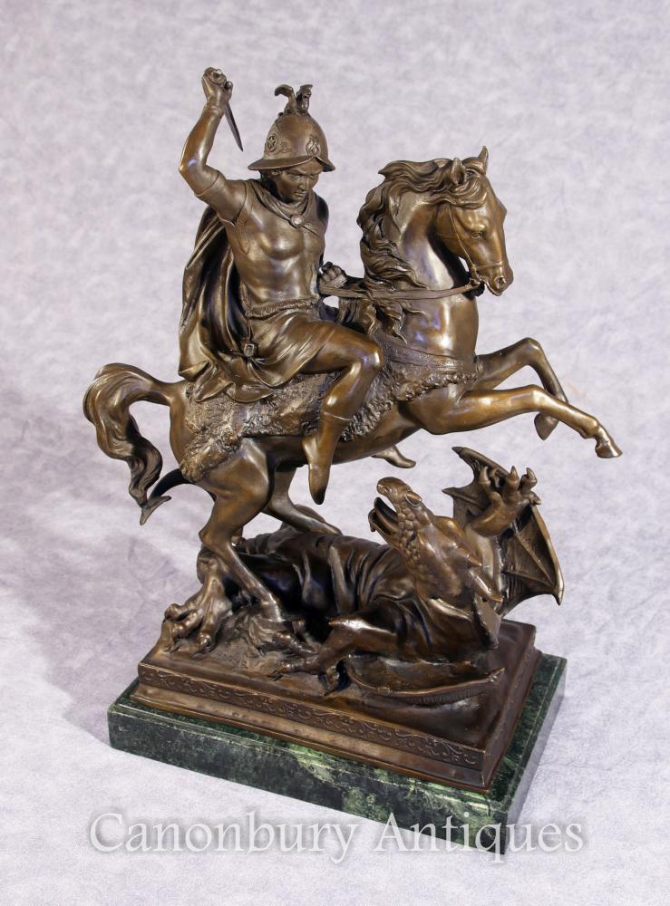 Bronze St George und Drachenschinder Pferd Statue Signed Barye Saint
