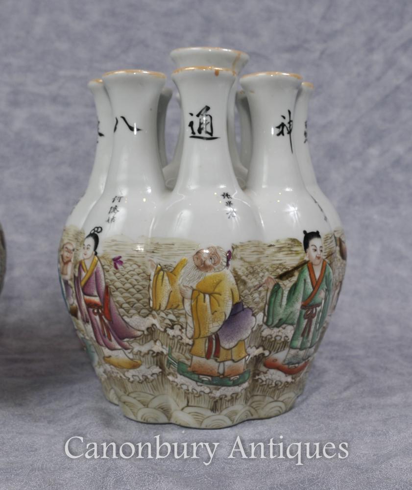 Chinesische Qianlong Porzellan-Krokus-Vase-Vasen-handgemalter multi Stamm