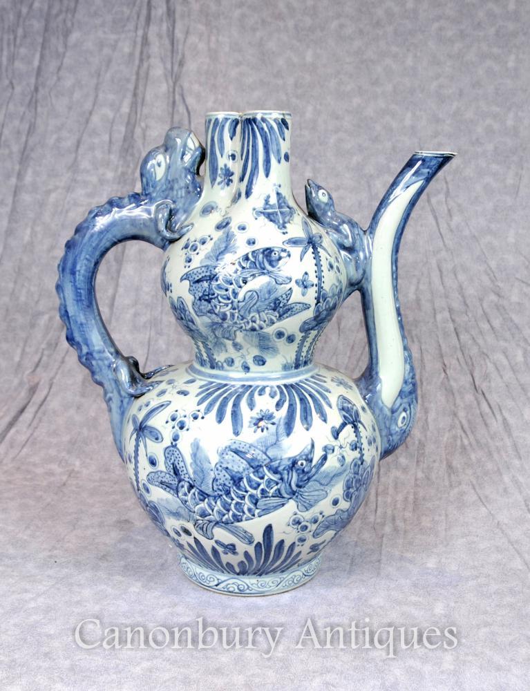 Chinesische blaue und weiße Porzellan-Teekanne Kangxi Vase