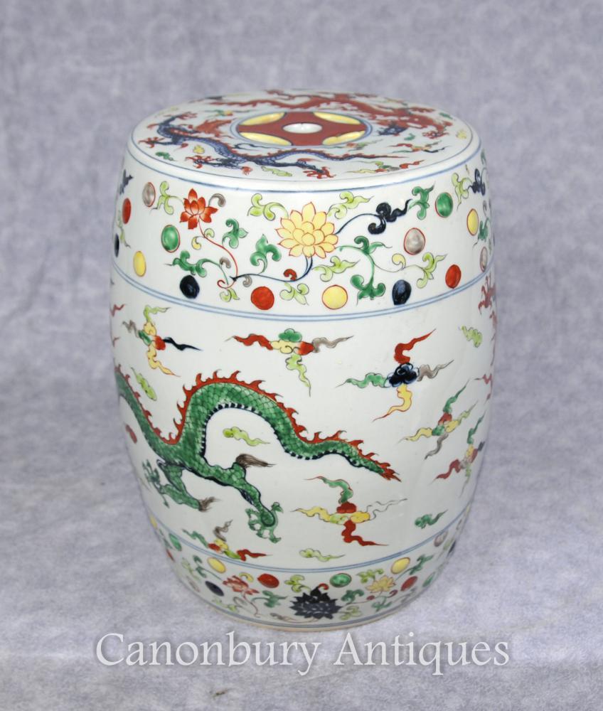 Einzelner Qianlong chinesischer Porzellan-Garten-Sitzhocker-Drachen
