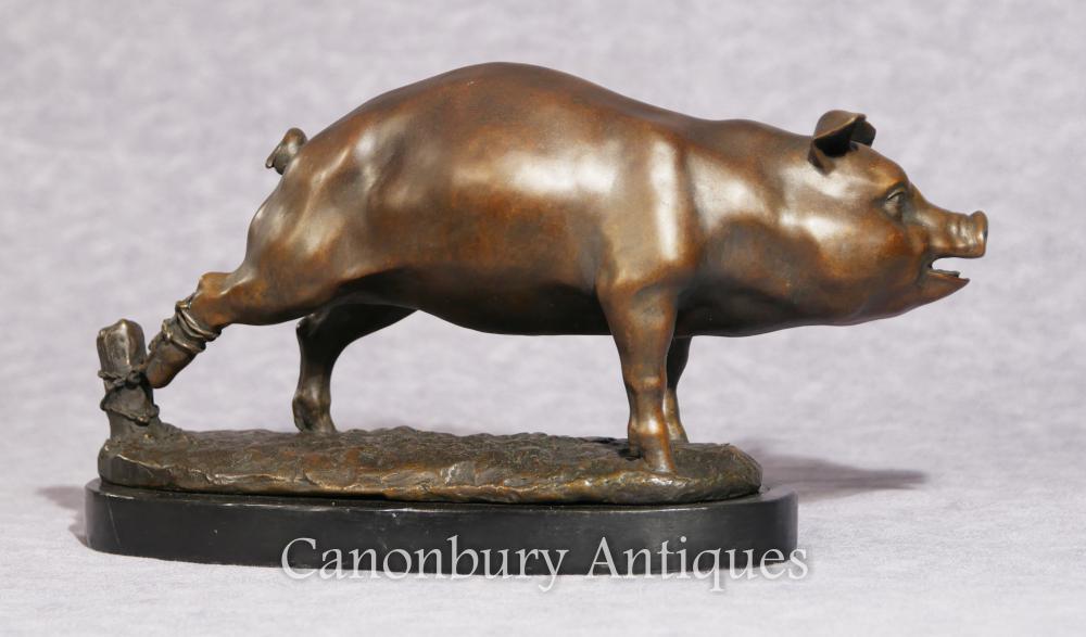Englisch Bronze Schwein Statue Casting Ferkel Hof
