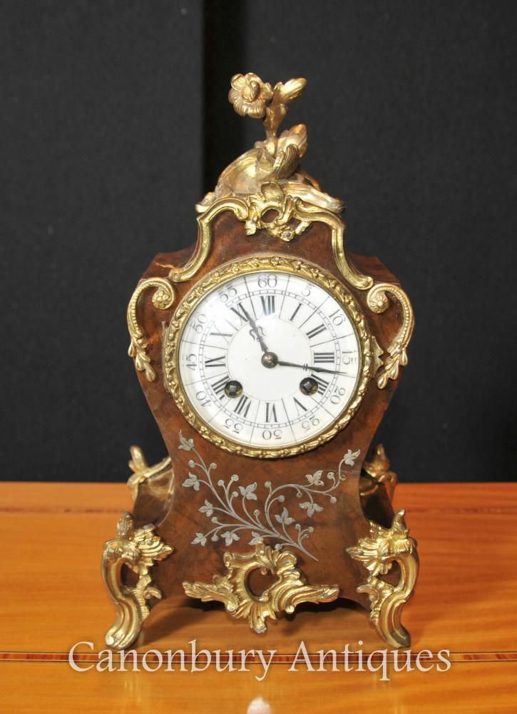 Francès antic Imperi rococó Mantell Rellotge embotit nacrat