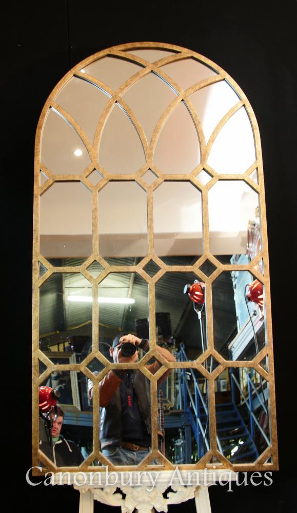 Französisch Antique Gilt Pier Mirror Architektonisches Kirche Fenster